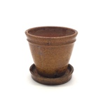 Hard Redware Flower Pot With Attached Saucer No. 390