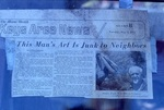 """Newspaper Article Keys Area News """"This Man's Art is Junk to Neighbors"""" by James Smith Pierce"""