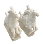 Pair of Chinese White Marble Equestrians by Artist Unknown