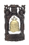 Chinese Brass Bell in Silver Inlaid Hardwood Frame by Artist Unknown