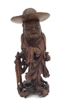 "Chinese Carved Hardwood Figure ""Itinerant"" Buddhist Priest by Artist Unknown"