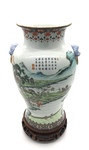 Painted East Asian Stoneware Vase with Carved Wood Base, 1 of 2 by Artist Unkown
