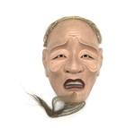 Painted Wood Japanese Theatrical Mask with Hair by Artist Unknown