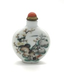 Porcelain Oval Chinese Snuff Bottle with Bamboo and Flower Decoration by Artist Unknown