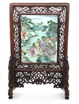 Chinese Famille-Rose Porcelain Table Screen by Artist Unknown
