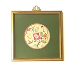 Floral Embroidery in Gold Painted Frame by Artist Unknown