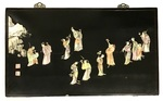 Familli-Rose Enameled Porcelain Inlaid Black Lacquer Plaque Depicting People and Rock Structure by Artist Unknown