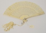 Ivory fan with cutouts and pearls by Maker Unknown