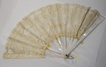 Lace and abalone handheld fan by Maker Unknown