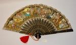Oriental palace themed handheld fan by Maker Unknown