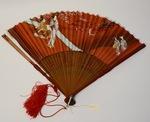 Oriental themed handheld fan by Maker Unknown