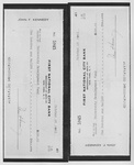 Photograph of Check From President Kennedy to the University Development Fund