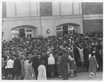 The Crowd Gathers Outside the Fieldhouse