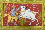 Untitled Indian Folk Painting - Deity and Cow by Artist Unknown