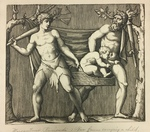 Two Fauns Carrying a Child in a Basket by Amand Durand After Raimondi