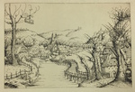 Amslerdruck Facsimile Print of River Landscape with Wooden Bridge by (After) Augustin Hirschvogel