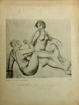 """Print Reproduction of Study for """"The Bathers"""" By Renoir and Frightened Horse By Gericault by Publisher Unknown"""
