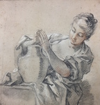 Albertina Facsimile Print of Girl with Jug by (After) Francois Boucher