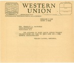 Congratulatory Telegram to President Roosevelt, 1933