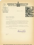 Letter from the American Tree Association to Governor Langer regarding Reforestation, 1933 by Charles Lathrop Pack