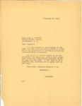 Governor Langer's response to U.S. Senator Lynn Frasier's letter Regarding Governors' Conference, 1933.