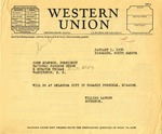 Telegram From Governor Langer to John Simpson of the National Farmers Union, 1934
