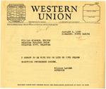 Telegram from Governor Langer to Oklahoma Farmers Union Editor William Simpson of the Oklahoma Farmers Union, 1934
