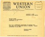 Telegram from Governor Langer to U.S. Congressman from North Dakota William Lemke Regarding Governors' Conference, 1934