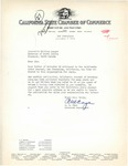 A. M. Caya of California State Chamber of Commerce Replies to Governor Langer's Letter, 1933