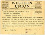 Telegram From Senator Lynn Frazier to Governor Langer regarding Standing Rock Indian Reservation, 1934