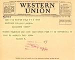 Telegram from King Haakon VII to Governor Langer, 1933