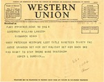 Telegram from Usher Burdick to Governor Langer, 1933 by Usher L. Burdick