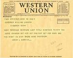 Telegram from Usher Burdick to Governor Langer, 1933
