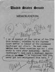 Memorandum with text from Senator Langer to Pastor T. W. Strieter regarding Martin Sandberger Case, June 1, 1949