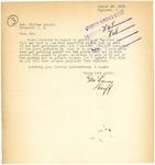 Letter from Logan County Sheriff regarding Gambling, August 1918