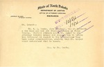 Letter from the State Fire Marshall regarding Slope County Sheriff, October 1918