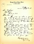 Letter from the Temple Court Cigar Store and Billiard Parlor regarding Cigarette Laws, August 1919