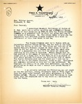 Letter from Fred Thompson, Cavalier County Sheriff, regarding Gambling and Bribes, March 1919