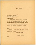 Letter to Fred Thompson, Cavalier County Sheriff, in response to Bribery Rumors, March 1919