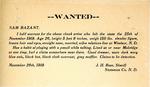 Wanted: Sam Bazant!