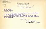 Letter from Sheriff Ross regarding Sam Bazant, December 1919
