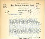 Letter from Jay Reed regarding Dickinson Pool Halls, September 1919
