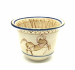 C CBL 034-0204, Cream-colored pot with horse and blue line detail by Margaret Kelly Cable