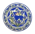 C CBL 053-0223, Blue goat plate by Margaret Kelly Cable