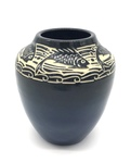 """C CBL 030-0200, """"The Big Ones That Got Away"""" Blue fish sgraffito vase by Margaret Kelly Cable"""