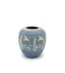 C CBL 058-0228, Blue vase with deer silhouette by Margaret Kelly Cable