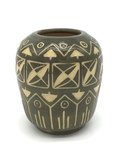 C CBL 022-0192, Gray and Cream Sgraffito Vase by Margaret Kelly Cable