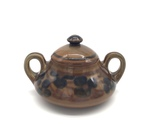 C CBL 057-0227, Brown Floral Sugar Container by Margaret Kelly Cable