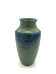C CBL 017-0187, Green vase with tree landscape by Margaret Kelly Cable
