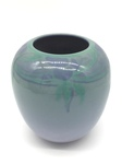 C CBL 019-0189, Round Blue Floral Vase by Margaret Kelly Cable